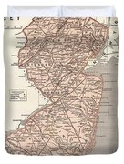 Vintage Map Of New Jersey - 1845 Duvet Cover