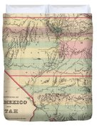 Vintage Map Of New Mexico And Utah - 1857 Duvet Cover