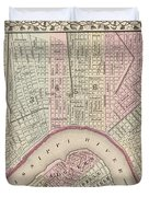 Vintage Map Of New Orleans - 1880 Duvet Cover