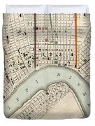 Vintage Map Of New Orleans Louisiana - 1845 Duvet Cover