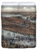Vintage Map Of New York And Brooklyn Circa 1875 Duvet Cover