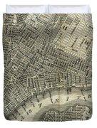 Vintage Map Of New York City - 1842 Duvet Cover