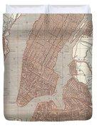 Vintage Map Of New York City - 1845 Duvet Cover