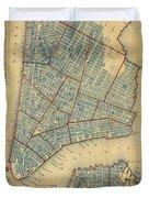 Vintage Map Of New York City - 1846 Duvet Cover