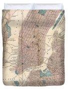 Vintage Map Of New York City - 1867 Duvet Cover