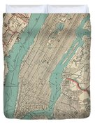 Vintage Map Of New York City - 1890 Duvet Cover