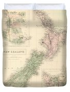 Vintage Map Of New Zealand - 1854 Duvet Cover