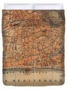 Vintage Map Of Nice France - 1914 Duvet Cover