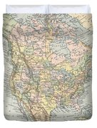Vintage Map Of North America - 1892 Duvet Cover
