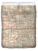 Vintage Map Of North And South Dakota - 1891 Duvet Cover
