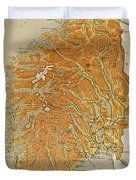 Vintage Map Of Norway - 1914 Duvet Cover