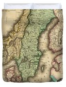 Vintage Map Of Norway And Sweden - 1831 Duvet Cover