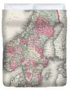 Vintage Map Of Norway And Sweden - 1865 Duvet Cover