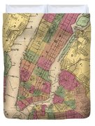 Vintage Map Of Nyc And Brooklyn - 1868 Duvet Cover