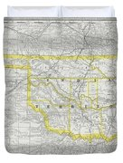 Vintage Map Of Oklahoma - 1889 Duvet Cover