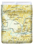 Vintage Map Of Olympia Greece - 1894 Duvet Cover