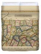 Antique Map Of Pennsylvania Duvet Cover