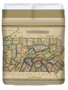 Antique Map Of Pennsylvania Duvet Cover