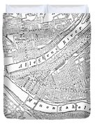 Vintage Map Of Pittsburgh - 1885 Duvet Cover