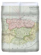 Vintage Map Of Puerto Rico - 1901 Duvet Cover
