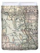 Vintage Map Of Salt Lake City - 1891 Duvet Cover
