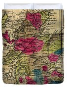 Vintage Map Of Scotland - 1808 Duvet Cover