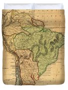 Vintage Map Of South America - 1821 Duvet Cover