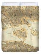 Vintage Map Of Stockholm  Duvet Cover