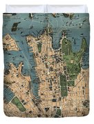 Vintage Map Of Sydney Australia - 1922 Duvet Cover