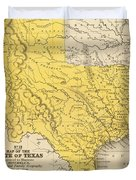 Vintage Map Of Texas - 1847 Duvet Cover