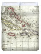 Vintage Map Of The Caribbean - 1852 Duvet Cover