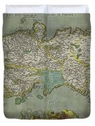 Vintage Map Of The Kingdom Of Naples - 1608 Duvet Cover