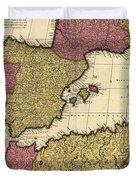 Vintage Map Of The Mediterranean - 1695 Duvet Cover