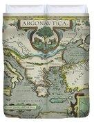 Vintage Map Of The Mediterranean Sea - 1608 Duvet Cover