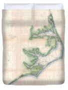Vintage Map Of The North Carolina Coast  Duvet Cover