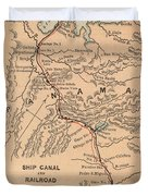 Vintage Map Of The Panama Canal - 1885 Duvet Cover