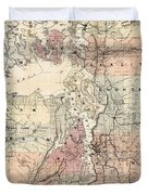 Vintage Map Of The Puget Sound - 1891 Duvet Cover