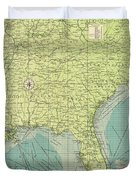 Vintage Map Of The Southeastern U.s. Ports - 1922 Duvet Cover