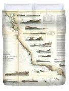 Vintage Map Of The U.s. West Coast - 1853 Duvet Cover