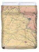 Vintage Map Of The Virginia Battlefields - 1861 Duvet Cover