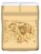Vintage Map Of The World Duvet Cover by Michal Boubin