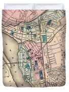 Vintage Map Of Trenton Nj - 1872 Duvet Cover