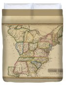 Antique Map Of United States Duvet Cover