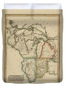 Antique Map Of Upper Territories Of The United States Duvet Cover