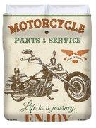 Vintage Motorcycling Mancave-c Duvet Cover