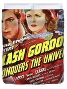 Vintage Movie Posters, Flash Godon Conquers The Universe Duvet Cover