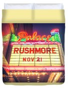 Vintage Neon Sign Over The Entrance To Historic Palace Theatre In Downtown La. Duvet Cover