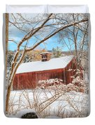 Vintage New England Barn Portrait Duvet Cover by Bill Wakeley