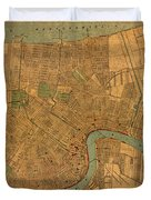 Vintage New Orleans Louisiana Street Map 1919 Retro Cartography Print On Worn Canvas Duvet Cover