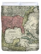 Vintage North America And Caribbean Map - 1720 Duvet Cover